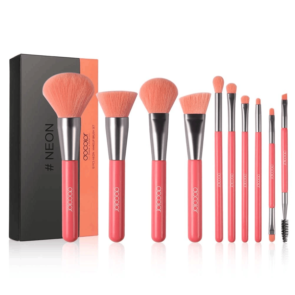 Neon Peach - 10 Pieces Synthetic Brush Set