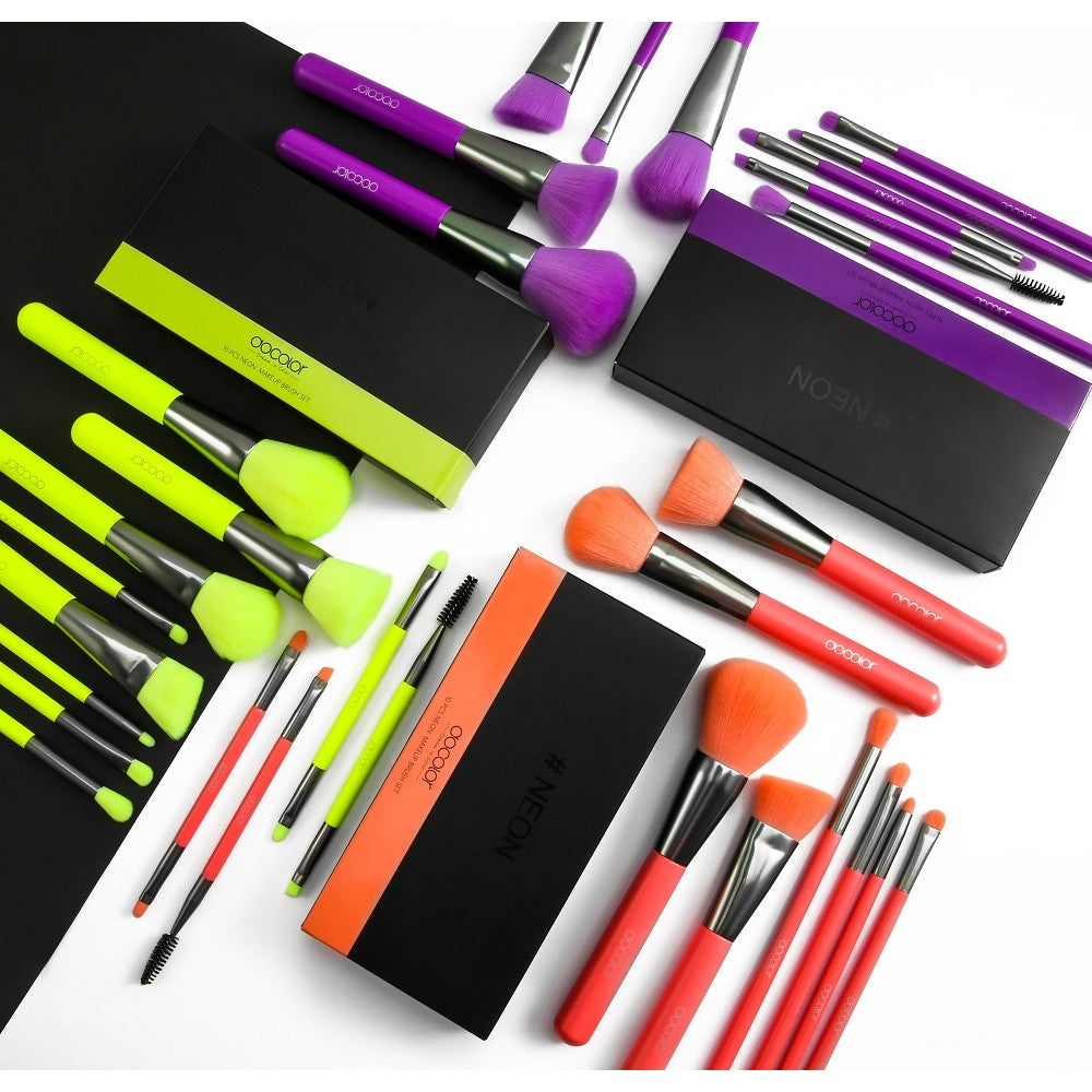Neon Bundle - 10 Pieces Synthetic Makeup Brush Set (Green, Purple and Peach)