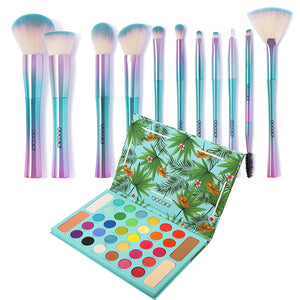 Fantasy Makeup Kit - 11 piece  Brush Set & Tropical Palette