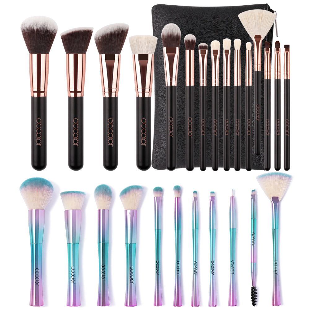 Makeup Brush Bundle - 15 piece Rose Gold Brush Set & 11 piece Fantasy Brush Set
