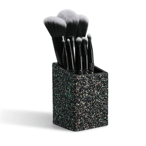 8 Pieces Sparkle Brush Set With Holder (Black)