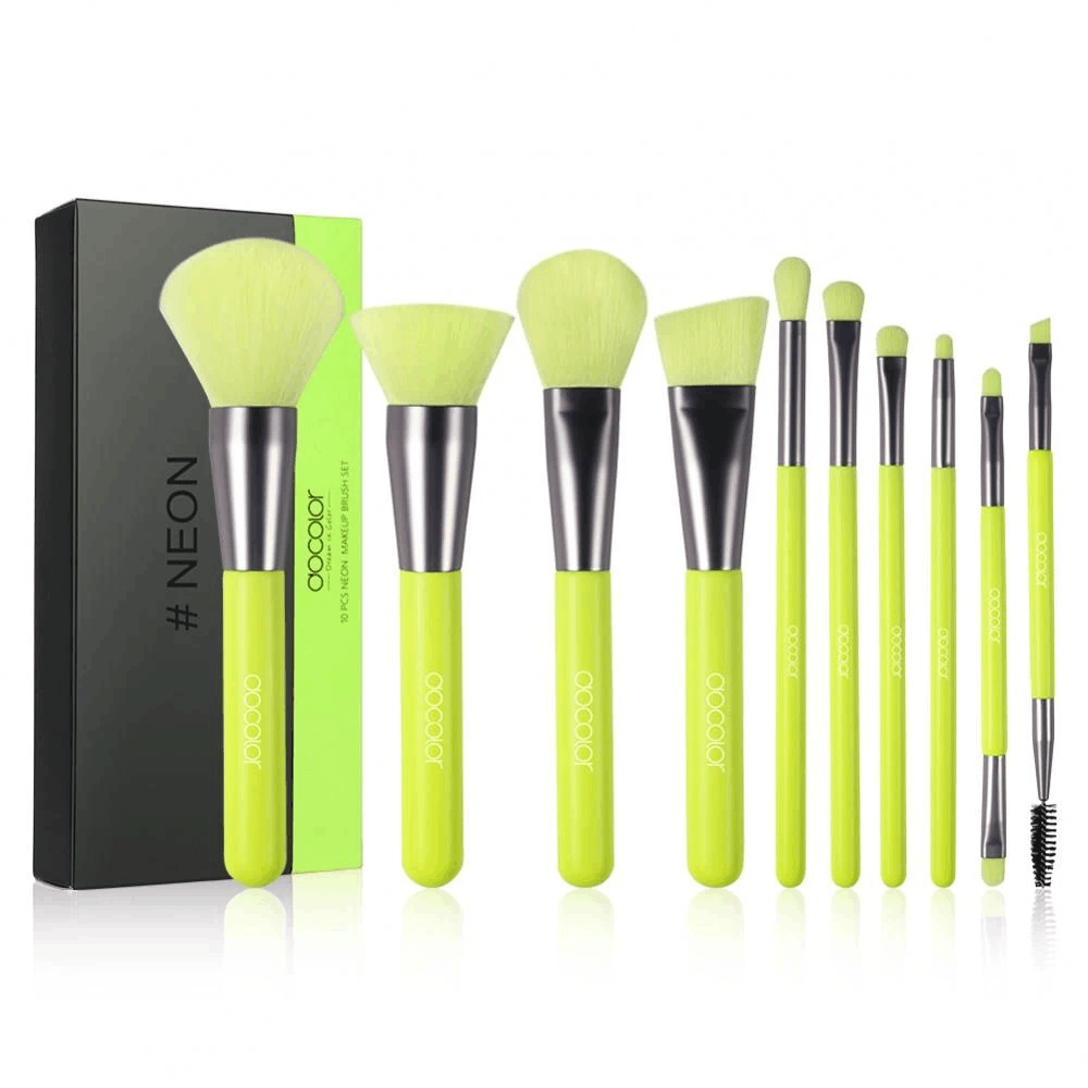 Neon green - 10-piece synthetic brush set
