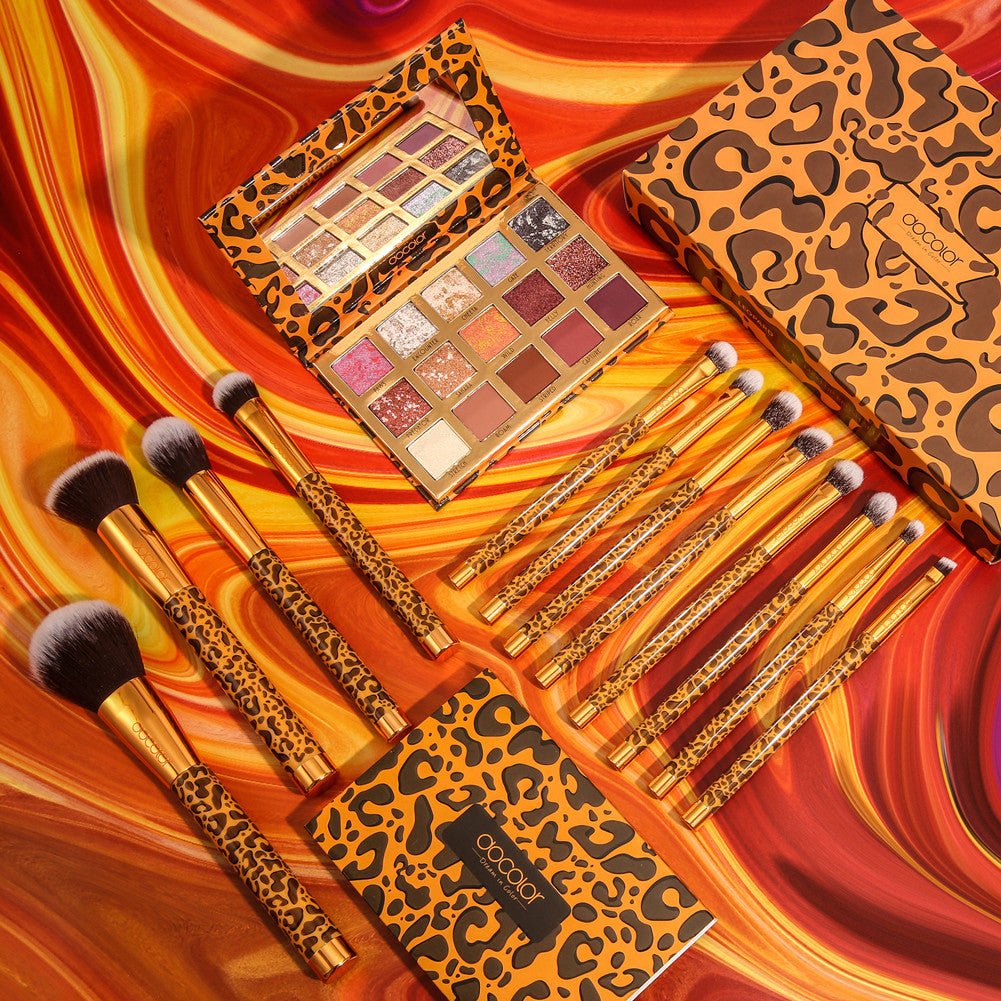 Leapard Collection - 12 pieces Brush Set & 15 Colors Palette