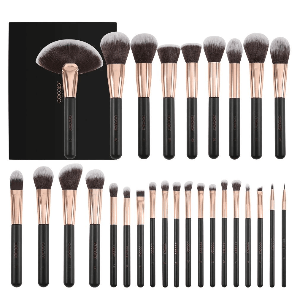 Free Shipping-Rose Gold - 28 piece Makeup Brush Set