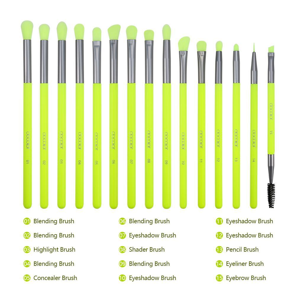Neon Green - 15 Pieces Eye Brush Set DOCOLOR OFFICIAL