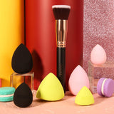 Neon Makeup Sponge Collection - 6pcs With Flat Foundation Brush DOCOLOR OFFICIAL
