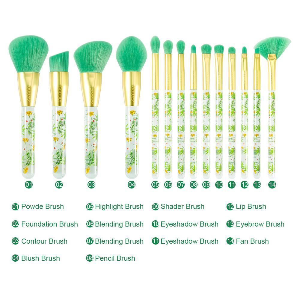Tropical - 14 piece Makeup Brush Set DOCOLOR OFFICIAL