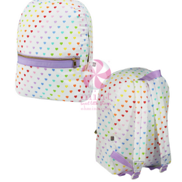 Tiny Hearts Seersucker Medium Backpack