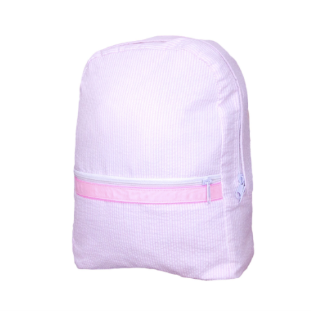 Pink Seersucker Medium Backpack