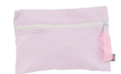 Pink Seersucker Cosmetic Bag Trio