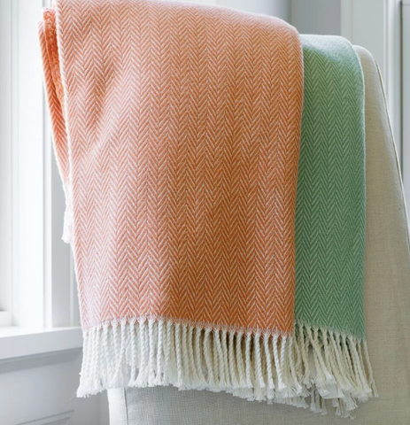 Herringbone Plush Throw, Coral