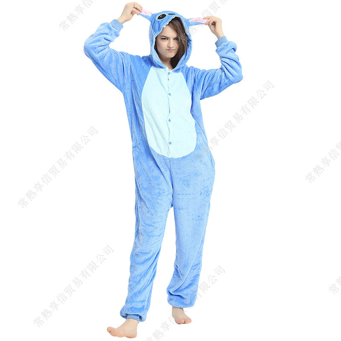 Cartoon Anime Pajamas Tianma Dinosaur Cats Flannel Onesies