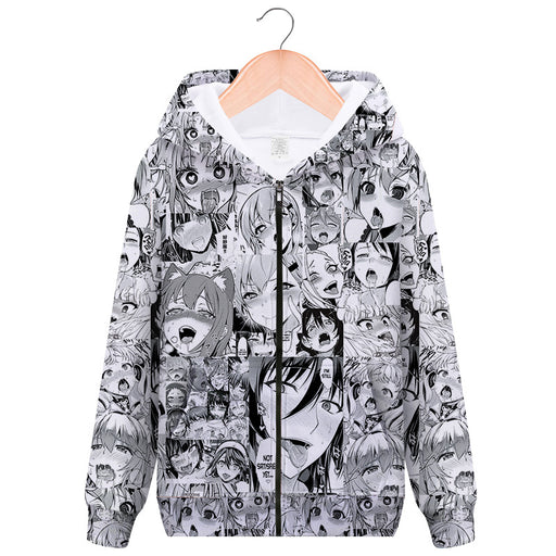 A Black Face AHEGAO Zipper Sweater Anime Hooded Cardigan Funny Expression Tide Clothing