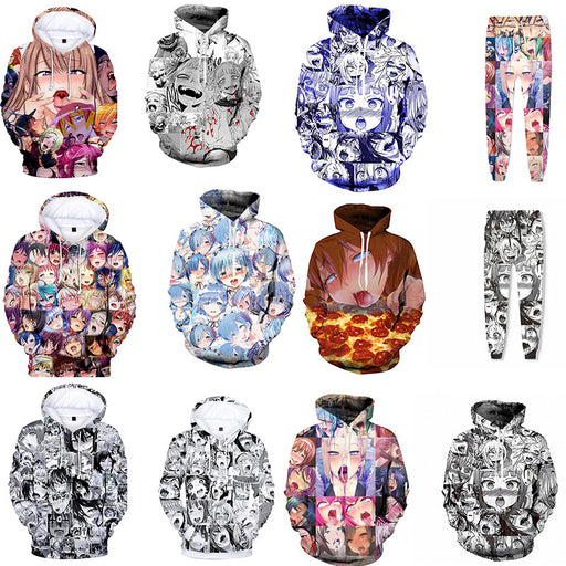 Explosion Models Ahegao Cartoon Anime 3D Hooded Cosplay Spring And Autumn Sportswear Sweater