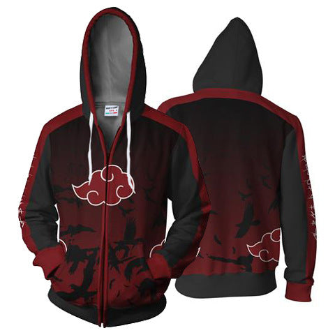 Foreign Trade Explosion Models Japan 3D Anime Naruto Print Zipper Shirt Hooded Sweater Coat