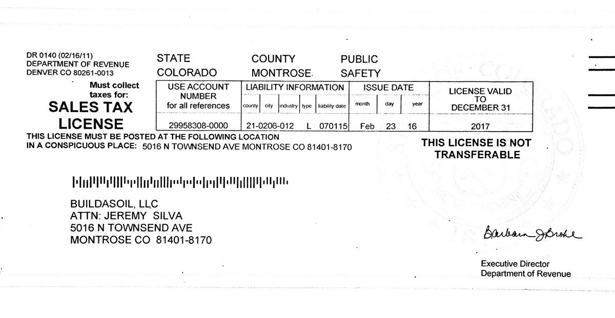 Build A Soil Colorado Sales Tax License for 2014