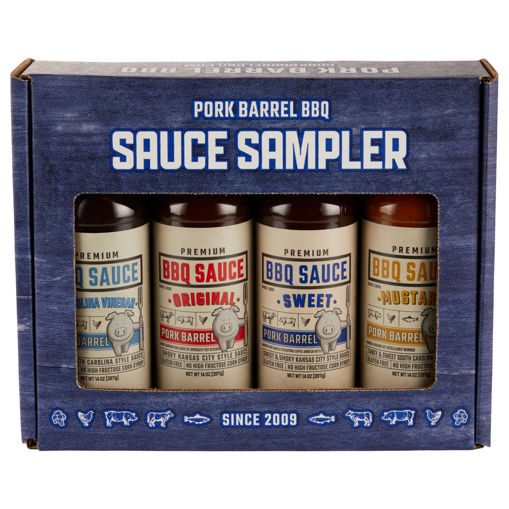 pork barrel bbq barbecue barbeque sauce sampler gift pack steak chicken pork butt rib rub spices seasonings competition bbq shark tank under 30 dollar gift fathers day gift mothers father's mother's