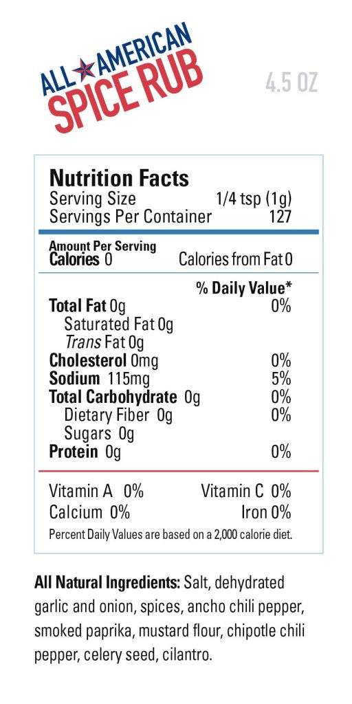 All American Spice RUb Nutritional Information