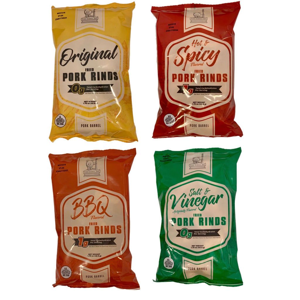 Pork Barrel Pork Rinds, Four 1.75 oz Bag Variety Sampler