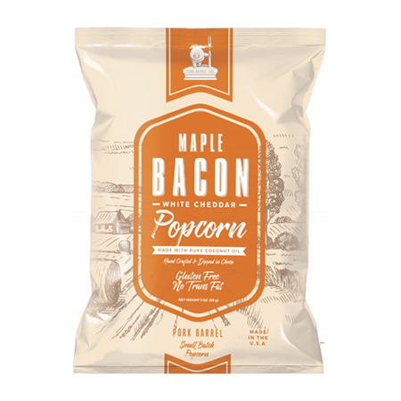Maple Bacon Real White Cheddar Popcorn - 12 Pack Case-Pork Barrel BBQ