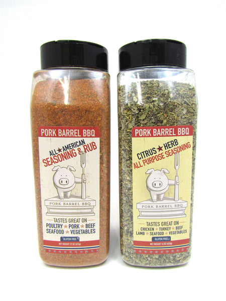 Pork Barrel BBQ All American Spice Rub and Chicken Herb Seasoning Sampler-Pork Barrel BBQ