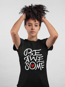 Be Awesome Black Color Cotton T-Shirt For Girls By Stylewati - 201966_023 - Main View
