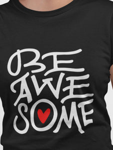 Be Awesome Black Color Cotton T-Shirt For Girls By Stylewati - 201966_023 - Zoom View