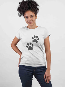 My Dog Paw ! White Cotton T-Shirt For Girls - stylewati.com