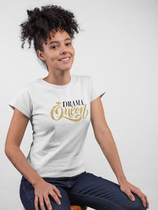 Drama Queen White Cotton T-Shirt For Girls - stylewati.com
