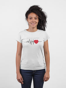 Heart Beat White Cotton T-Shirt For Girls By Stylewati - 201950_001 - Main View