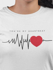 Heart Beat White Cotton T-Shirt For Girls By Stylewati - 201950_001 - Zoom View