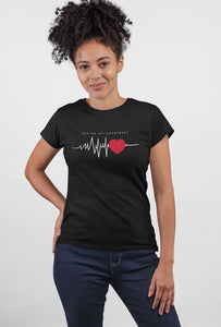 Heart Beat Black Color Cotton T-Shirt For Girls - stylewati.com