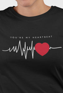 Heart Beat Black Color Cotton T-Shirt For Girls