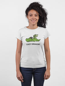 Lazy Dragon White Cotton T-Shirt For Girls By Stylewati - 201957-001 - Main View