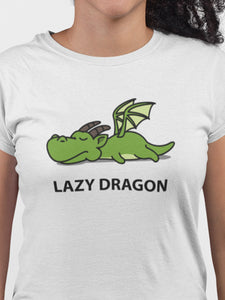 Lazy Dragon White Cotton T-Shirt For Girls By Stylewati - 201957-001 - Zoom View