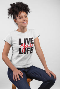 Live Your Life Style - Short Sleeve White Color T-Shirt For Girls - stylewati.com