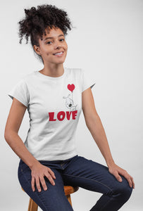 Love White Cotton T-Shirt For Girls by Stylewati - Side View - 201963_001
