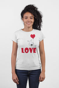 Love White Cotton T-Shirt For Girls - stylewati.com