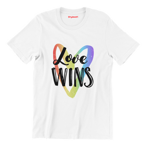 Love Wins - White Color Short Sleeve T-shirt For Girls - stylewati.com