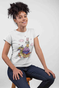 Mock-up Turtle and Rabbit Story White Cotton T-Shirt For Girls - stylewati.com
