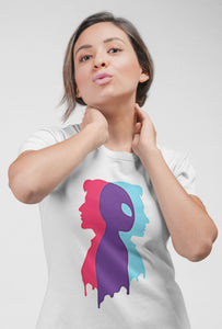 Multi Face - Short Sleeve White Color T-Shirt For Girls by Stylewati - 201940_001 - Front Side View