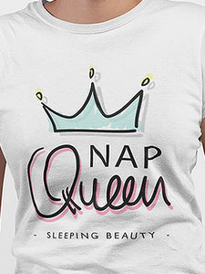 Nap Queen White Cotton T-Shirt - stylewati.com