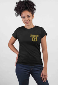 Queen 01 Round Neck Black Color Cotton T-Shirt For Girls - stylewati.com