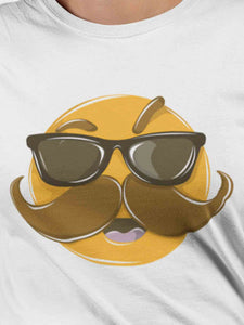 Quirky Moustache Emoji White Cotton T-Shirt For Girls By Stylewati - Zoom View - SKU 201934_001