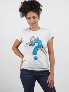 What Why How ! White Cotton T-Shirt For Girls by Stylewati