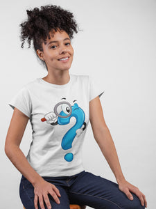 Quirky Question Mark White Cotton T-shirt For Girls - stylewati.com