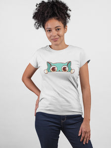 Spy Cat Eyes ! White Cotton T-Shirt For Girls by Stylewati