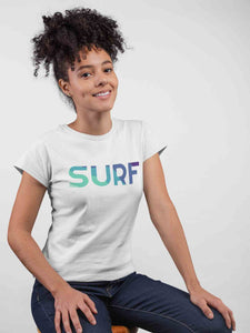 Surf White Cotton T-Shirt For Girls by Stylewati
