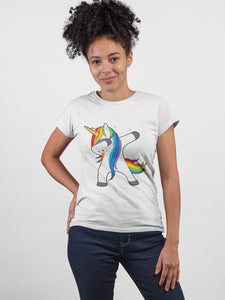 Unicorn Swag White Cotton T-shirt For Girls - stylewati.com
