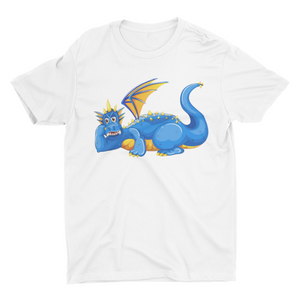 Blue Little Dinosaur- Short Sleeve White Colour T-Shirt For Kids - stylewati.com